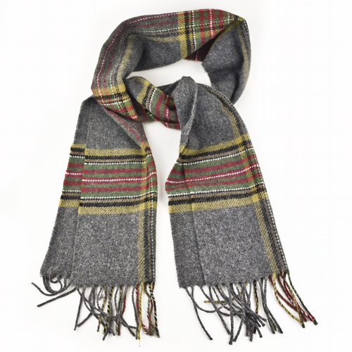 Lambswool Scarf - Oxford Grey Tartan